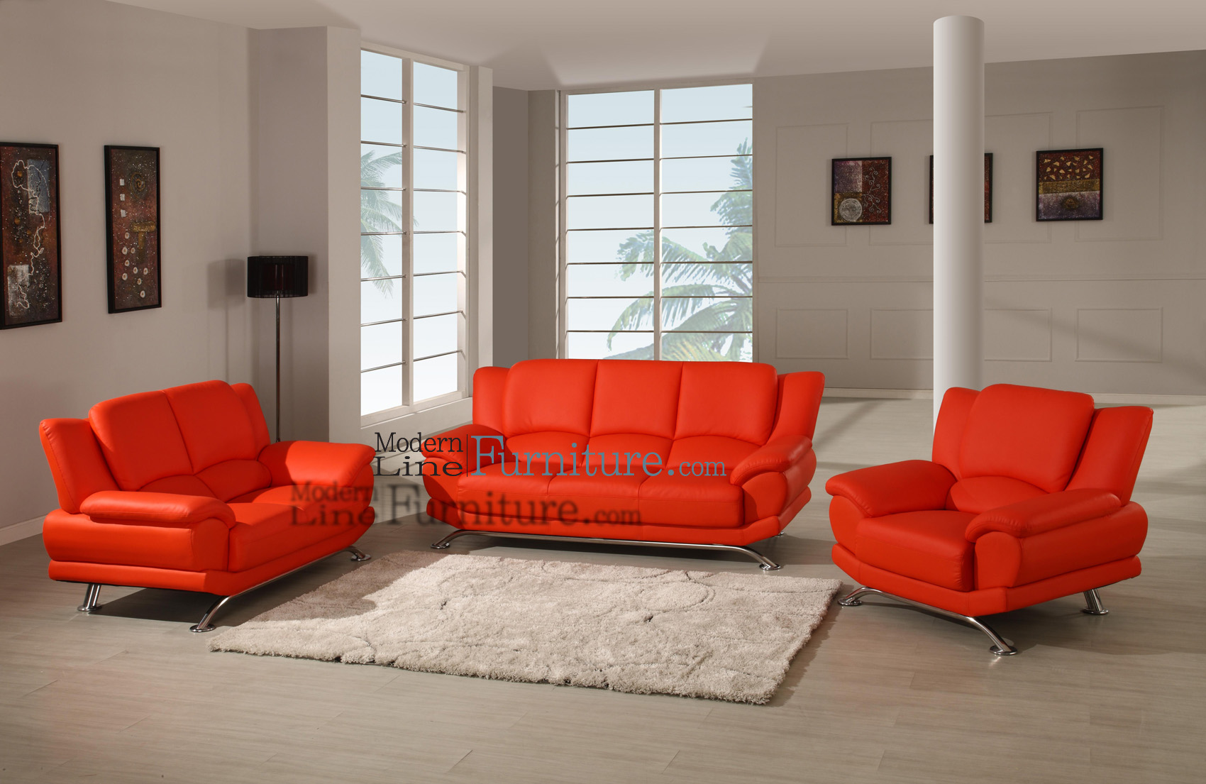 Modern Line Furniture   Commercial Furniture   Custom Made Furniture | Modern  Furniture Red Leather 3PC Living Room Set