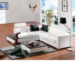 Modern Furniture White Leather Contemporary Sectional Sofa
