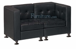 Modern Modular Black Leather Loveseat