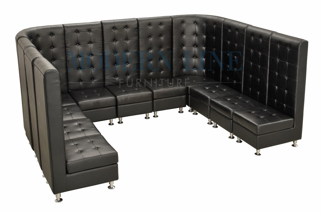 Modern Line Furniture - Commercial Furniture - Custom Made Furniture | Seating Collection | | | Modern Modular Black Leather U-Shaped Sectional  sc 1 st  Modern Line Furniture : u shaped sectional with ottoman - Sectionals, Sofas & Couches