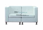 Modern Modular White Leather Loveseat