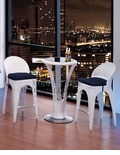 Modern Outdoor White Patio Bar Table Set Bar Table with 2 Bar stools With Black Seat Cushions