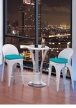 Modern Outdoor White Patio Bar Table Set Bar Table with 2 Bar stools With Blue Seat Cushions