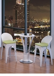 Modern Outdoor White Patio Bar Table Set Bar Table with 2 Bar stools With Green Seat Cushions