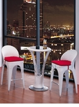 Modern Outdoor White Patio Bar Table Set Bar Table with 2 Bar stools With Red Seat Cushions