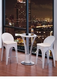 Modern Outdoor White Patio Bar Table Set Bar Table with 2 Bar stools With White Seat Cushions
