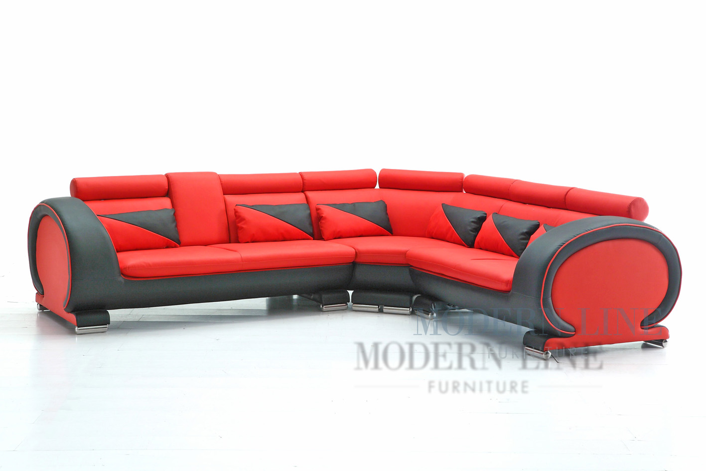 Modern Line Furniture - Commercial Furniture - Custom Made Furniture | Modern Red and Black Leather Sectional Sofa  sc 1 st  Modern Line Furniture : red and black sectional sofa - Sectionals, Sofas & Couches
