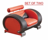 Liquidation! Modern Red & Black Chair (SET OF TWO)