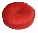 Modern Red Leather Round Pillow
