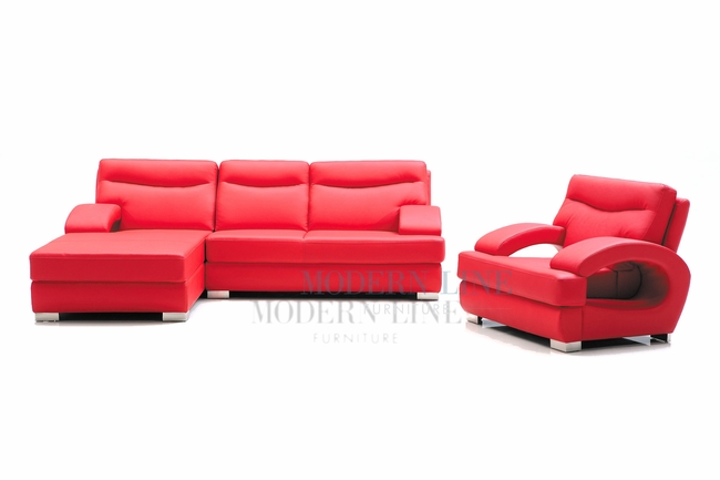 Modern Line Furniture - Commercial Furniture - Custom Made Furniture | Modern Red Leather Sectional Sofa with a Chair  sc 1 st  Modern Line Furniture : red leather sectional furniture - Sectionals, Sofas & Couches