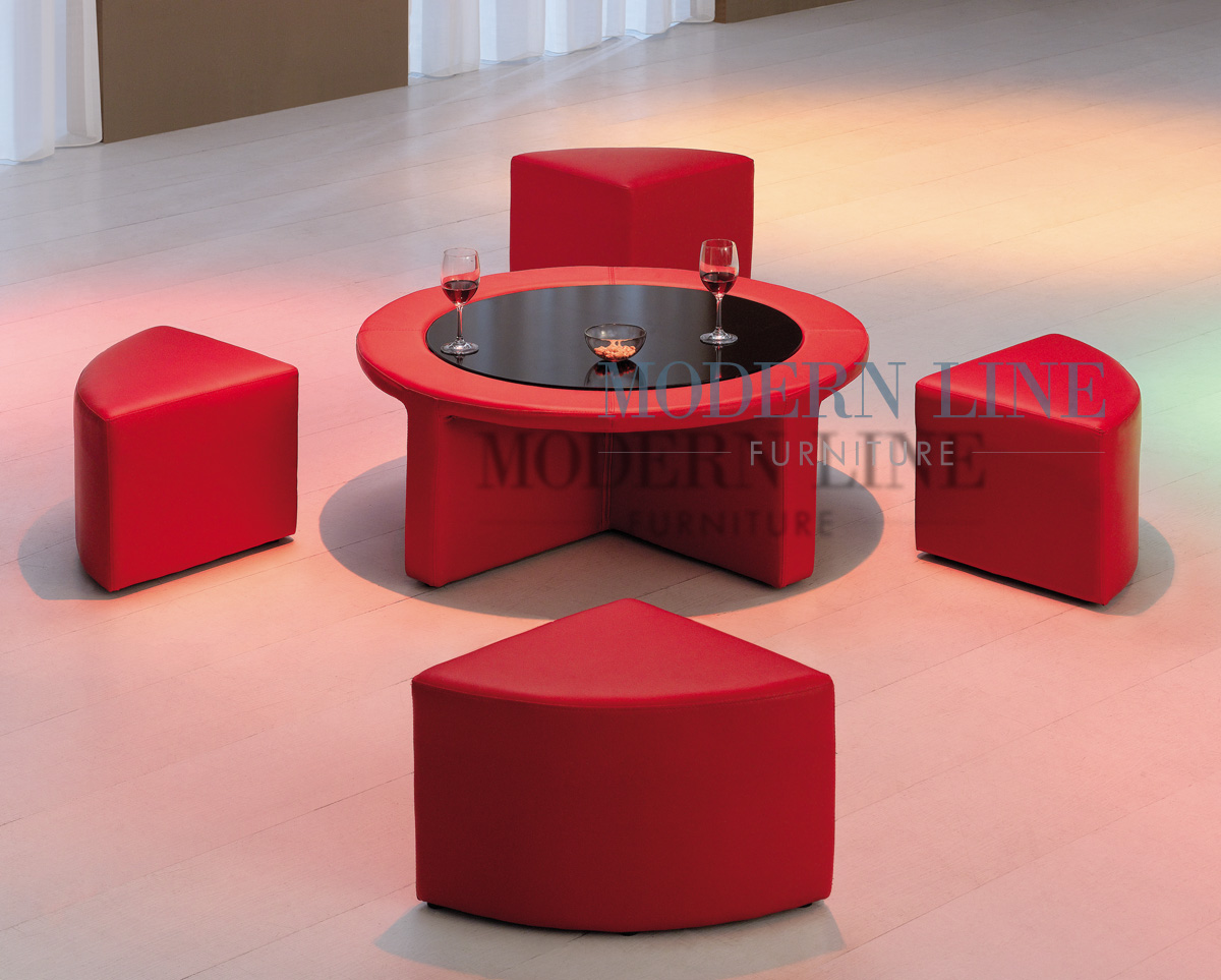 Modern line furniture commercial furniture custom made furniture coffee side tables model 7010 modern red vinyl round coffee table wtempered glass and four mini stools geotapseo Gallery