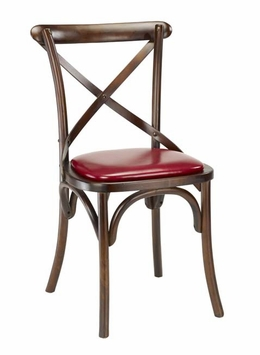 Modern Rustic Walnut Restaurant Chair With Dark Cherry Seating (Commercial  Grade)