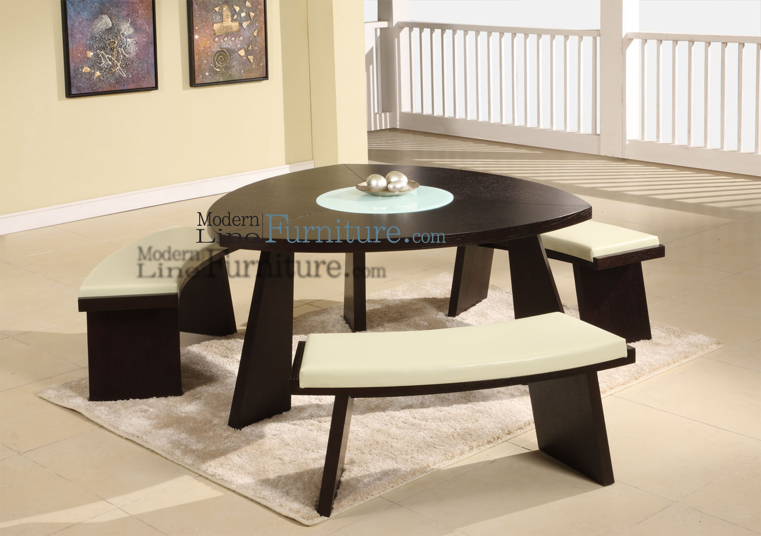 Modern Line Furniture - Commercial Furniture - Custom Made Furniture |  Modern Triangular Dining Table with a Swivel Mid-Glass, comes with 3 Beige  ... - Modern Line Furniture - Commercial Furniture - Custom Made
