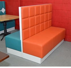Modern Two Sided White-Formica� Booth - Side A Orange Seating - Side B Green Seating
