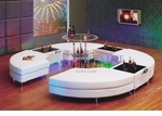 Modern White C-Shape Arrangement: 4 Tails, 3 Multi-function Tables and a Bar Table