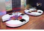 Modern White Double C-Shape Arrangement: 8 Tails, 6 Multi-function Tables and 2 Bar Tables