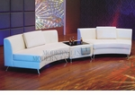 Modern White Lounge Style 2pc Curved Open Sofa with Free Multi-Functional Table