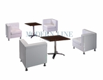 Modern White Leather Modular Sectional Set of Four Corners with Two Dining Tables