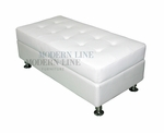 Modern White Leather Rectangular Ottoman