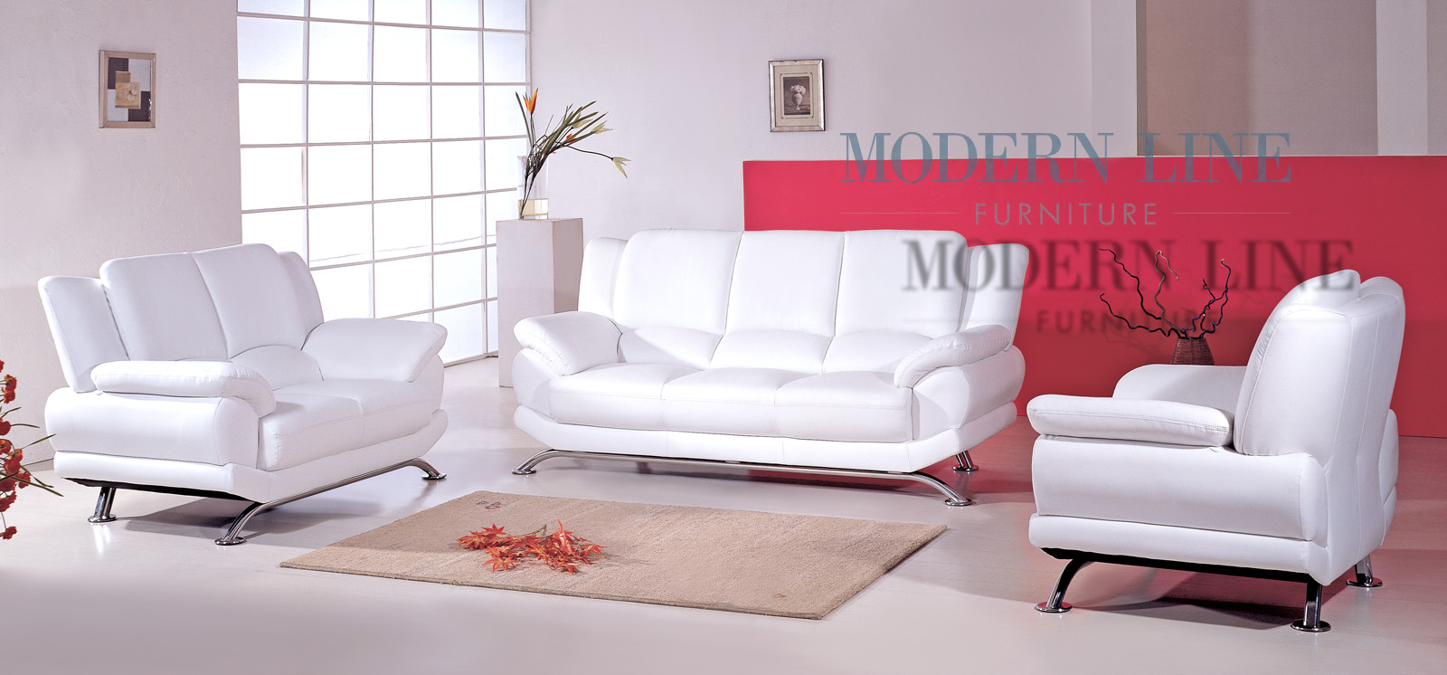 White leather furniture set roselawnlutheran for Modern white furniture