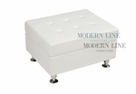 Modern White Leather Square Ottoman