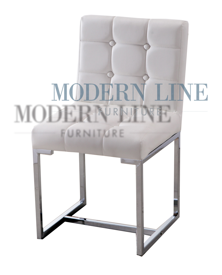 Modern Line Furniture   Commercial Furniture   Custom Made Furniture |  Modern White Tufted Leather Dining Chair
