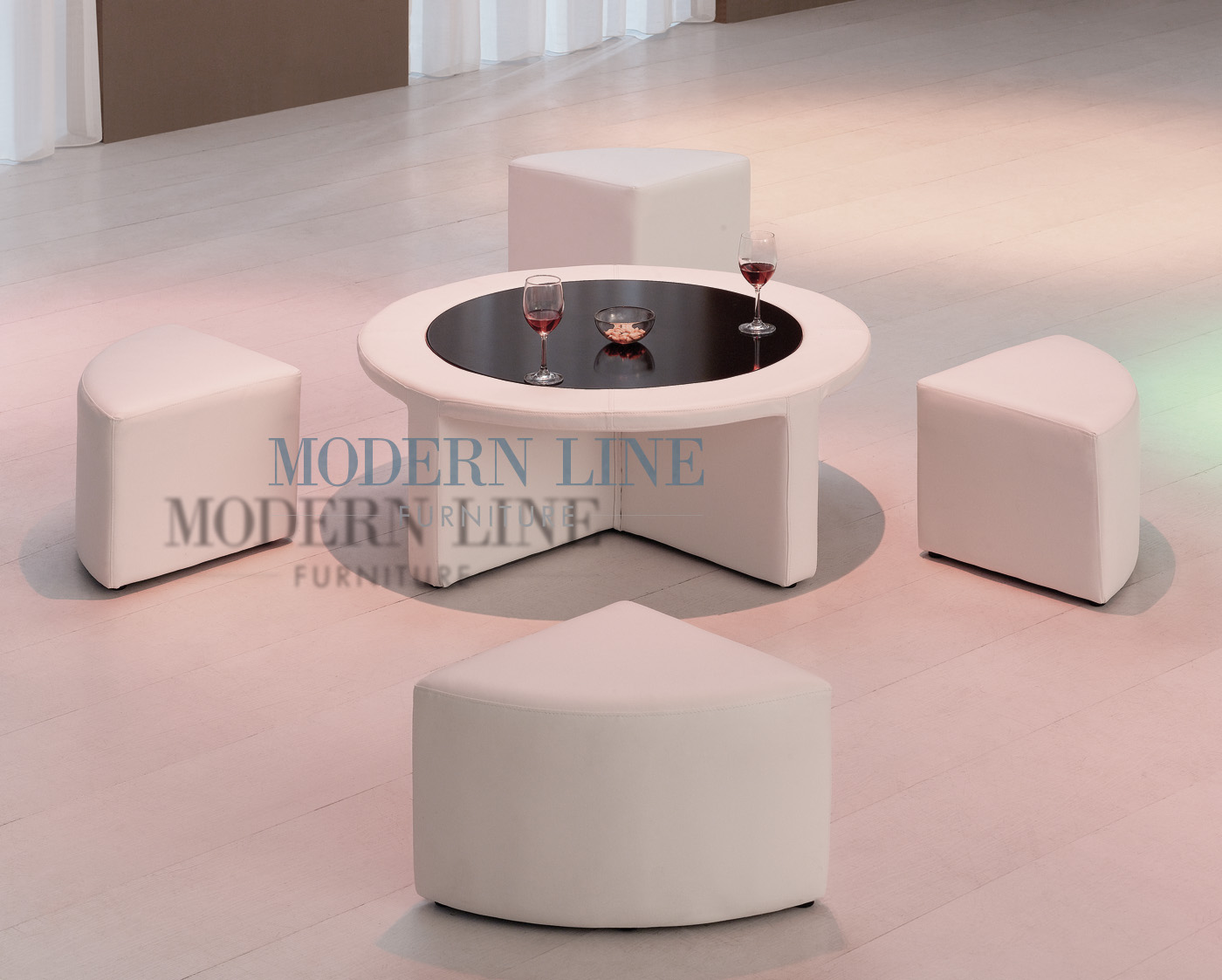 ... Made Furniture | Seating Collection | Coffee   Side Tables | Model 7010  | Modern White Vinyl Round Coffee Table W/Tempered Glass And Four Mini  Stools!