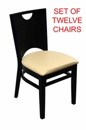 Modern Wood Frame with Sand Padded Seating Restaurant Chair (SET OF TWELVE)