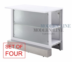 Liquidation! Modular Bar Table - White Table Top - Frosted Panel Glass - SET OF FOUR EXTENSIONS