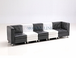 Modular Black And White Leather Long Sofa