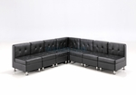 Modular Black Leather Armless L-Shape Sectional