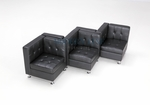 Modular Black Leather Double Sided Corners