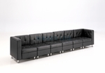 Modular Black Leather Extra Long Sofa