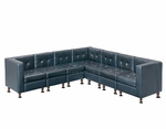 Modular Black Leather L-Shape Sectional