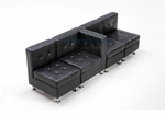 Modular Black Leather Sectional Sofa with One Center Arm Rest
