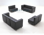 Modular Black Leather Set of Two Sofas and Two Armless Loveseats