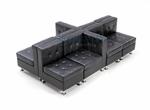 Modular Black Leather Unique and Versatile Sectional Seating for up to 8 People!