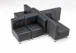 Modular Black Leather X-Shaped Sectional Seating
