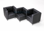 Modular Black Leather Zig-Zag Sectional