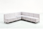 Modular White Leather Armless L-Shape Sectional