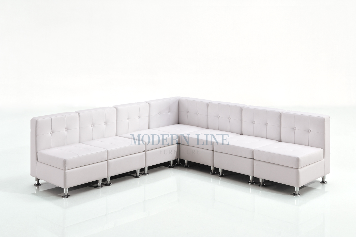 Modern line furniture commercial furniture custom made furniture seating collection modular white leather armless l shape sectional