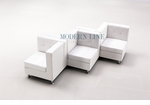Modular White Leather Double Sided Corners