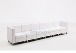 Modular White Leather Extra Long Sofa