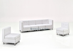Modular White Leather Long Sofa and Two Chairs