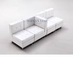 Modular White Leather Sectional Sofa with Center Arm Rest