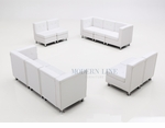 Modular White Leather Set of Two Sofas and Two Armless Loveseats