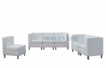 Modular White Leather Sofa, Loveseat and Chair