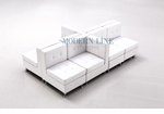 Modular White Leather Unique and Versatile  Sectional Seating for up to 8 People!