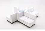 Modular White Leather X-Shaped Sectional Seating
