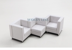 Modular White Leather Zig-Zag Sectional